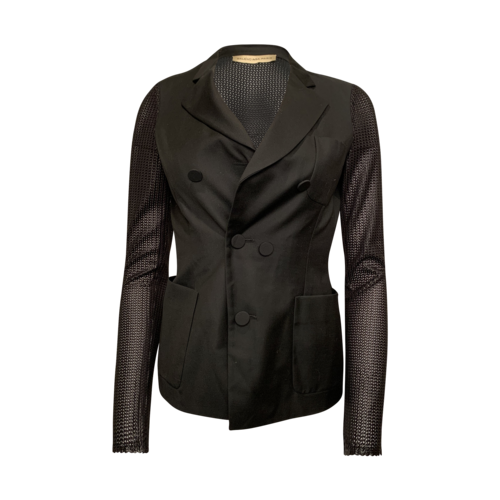 Balenciaga Black Mesh Back and Sleeves Blazer
