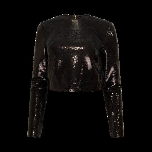 Diane von Furstenberg Black Sequin Long Sleeve Crop Top