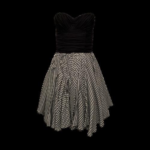 Dolce & Gabbana Black Strapless Dress w/ Gingham Skirt