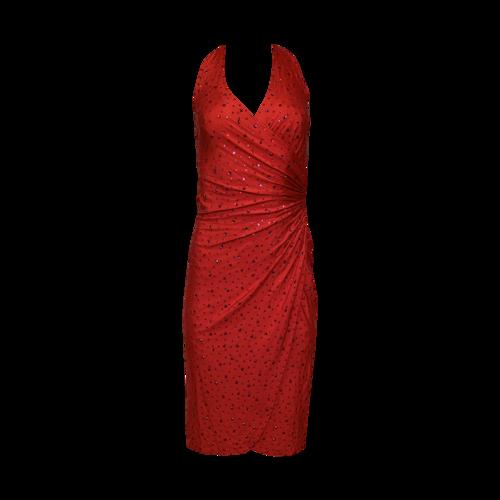 Dolce & Gabbana Red Jewelled Halter Dress