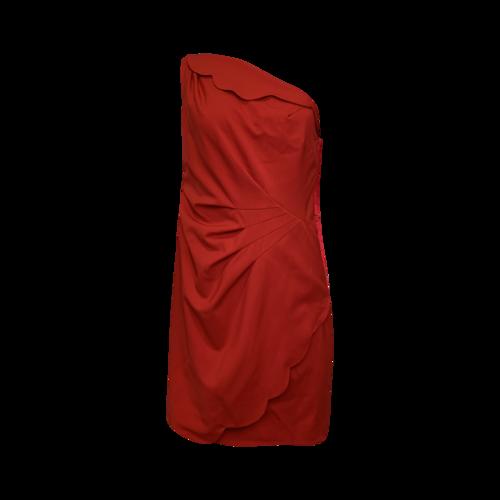 Valentino Red One Shoulder Scallop Dress