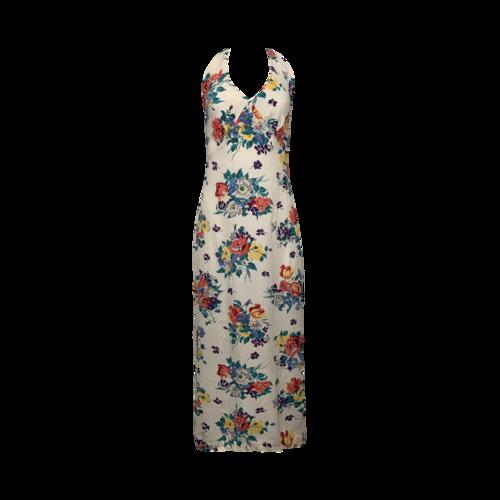 Betsey Johnson White Floral Print Halter Maxi Dress