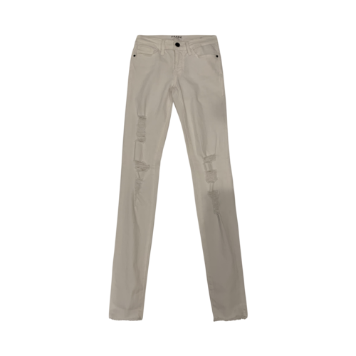 "FRAME White ""Le Skinny de Jeanne"" Distressed Jeans"