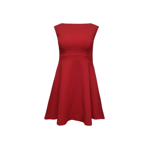 French Connection Red Bateau Neck Flare Dress