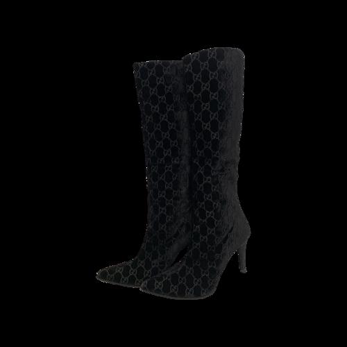 Gucci Black Velvet Monogram Boots