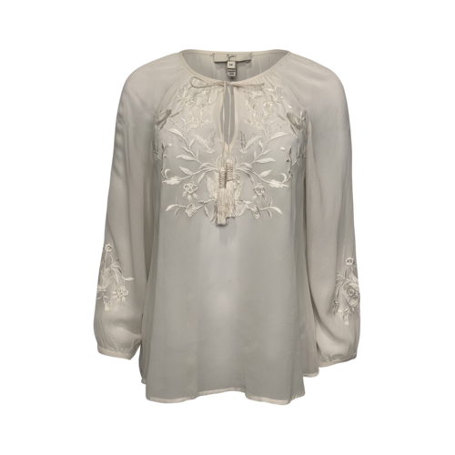 Joie White Embroidered Blouse w/ Tassel Ties
