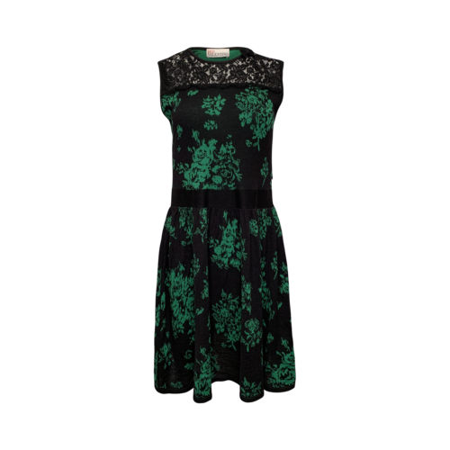Valentino Green Lace-Yoke Floral Knit Dress