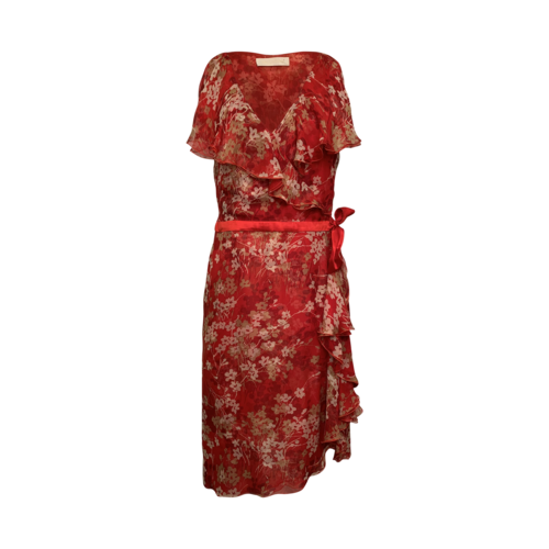 Valentino Red Floral Faux Wrap Ruffle Dress