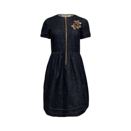 Dior Front Zip Denim Dress w/ Floral Embellishments