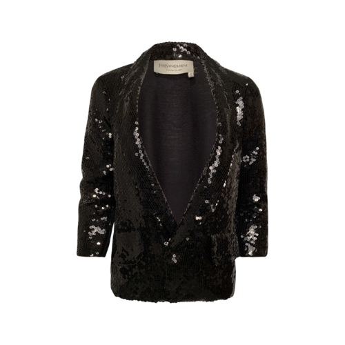 Yves Saint Laurent Black Contrast Sequin Jacket