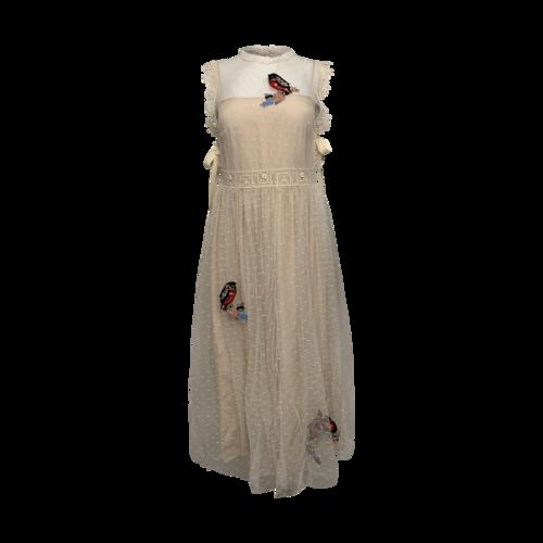 Valentino Cream Swiss Dot Dress