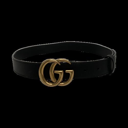 Gucci Black Small Logo Leather Belt