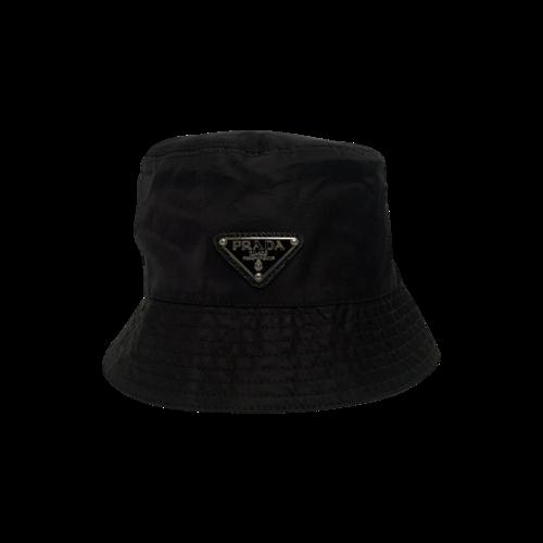 Prada Black Nylon Logo Bucket Hat