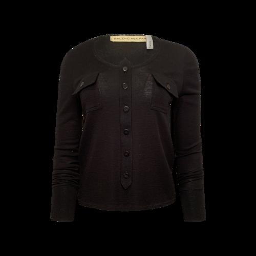 Balenciaga Black Wool Knit Button Sweater
