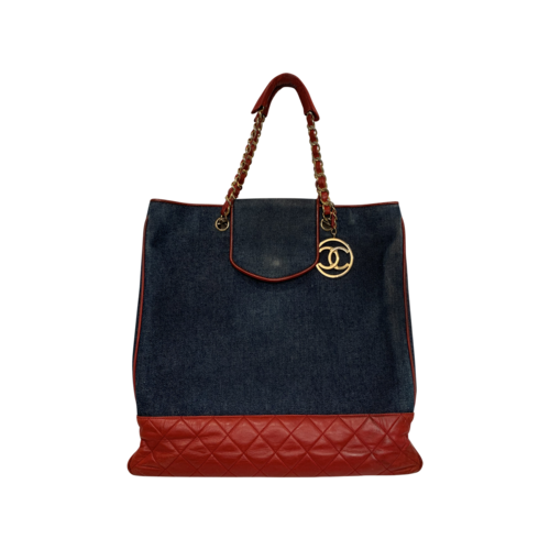 CHANEL Vintage Red-Navy Lambskin Leather Denim Bag