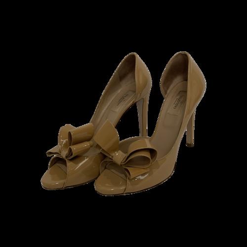 Valentino Nude D'orsay Peep Toe Pumps