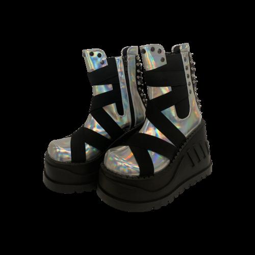 "Demonia Silver Hologram ""Stomp"" Platforms"