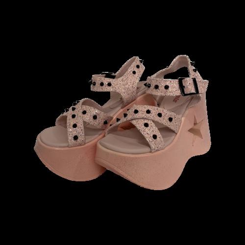 """Demonia Baby Pink Glitter """"Dynamite"""" Platform Sandals"""
