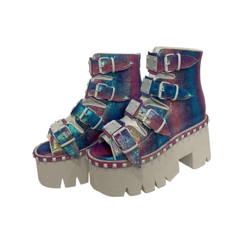 "Demonia Purple Multi Iridescent ""Ashes"" Platforms"