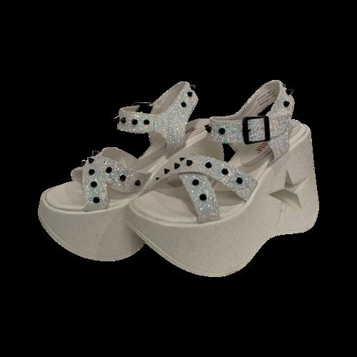 "Demonia White Multi Glitter ""Dynamite"" Platform Sandals"