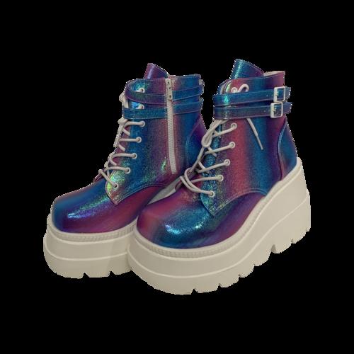 "Demonia Purple Multi Iridescent ""Shaker"" Platforms"