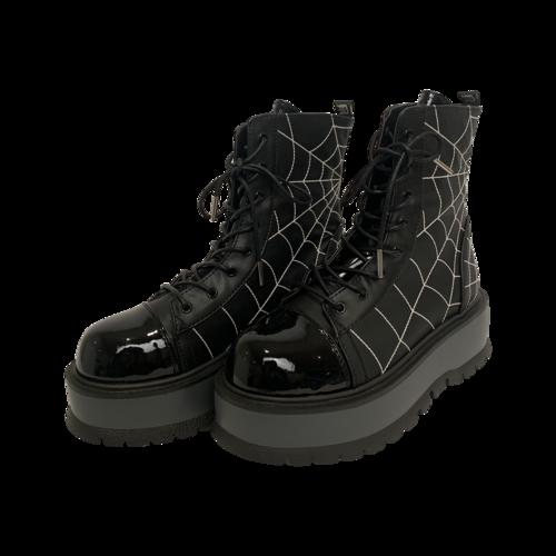 "Demonia Black Spiderweb ""Slacker"" Platforms"