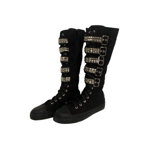 """Demonia Black Canvas """"Deviant"""" Lace Up Knee High Sneakers"""
