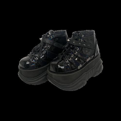 "Demonia Black Glitter ""Neptune"" Platforms"