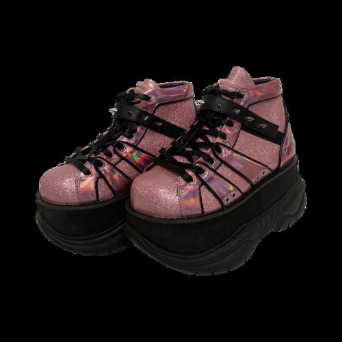 "Demonia Pink Glitter ""Neptune"" Platforms"