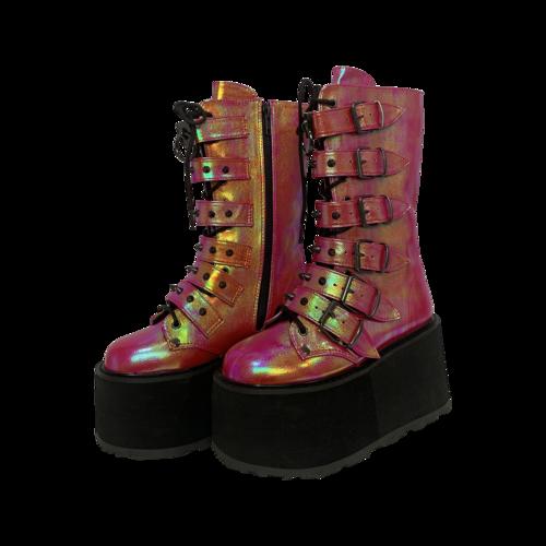 "Demonia Pink-Green Iridescent ""Damned"" Platforms"
