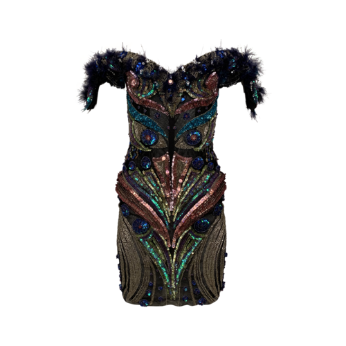 Custom Made Structured Embellished and Feathers Dress