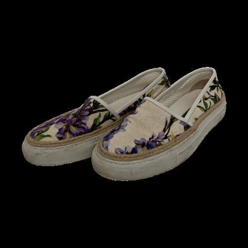 Dolce & Gabbana Wisteria Print Slip On Shoes
