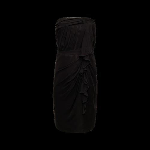 David Meister Black Side Ruffle Strapless Dress