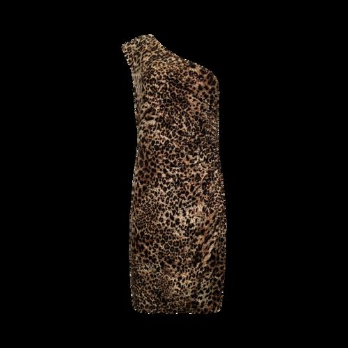 David Meister One-Shoulder Leopard Sequin Dress