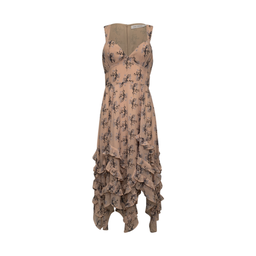 Fame and Partners Pink Floral Ruffle Dress