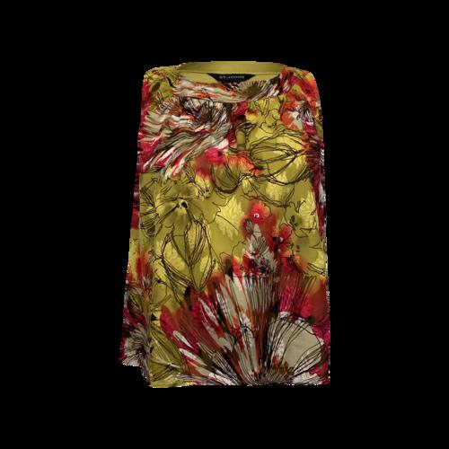 St. John Scoop Neck Floral Print Silk Top