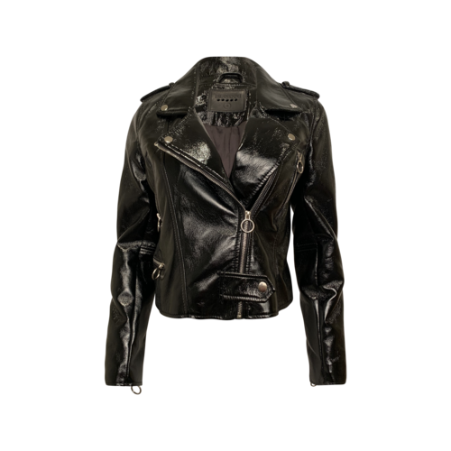 BLANKNYC Black Faux Patent Leather Motto Jacket