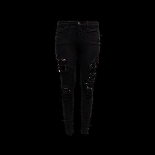 """FRAME Black Distressed """"Le Skinny De Jeanne"""" Jeans"""
