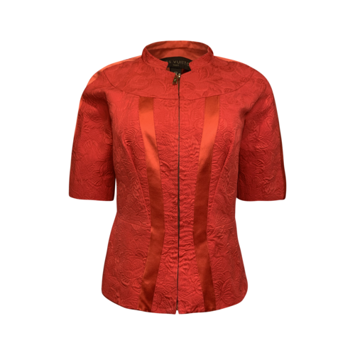 Louis Vuitton Red-Orange Jacquard Zipper Blouse
