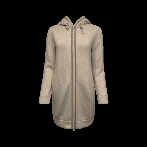 Brunello Cucinelli Beige Monili-Trim Cashmere Hooded Sweater
