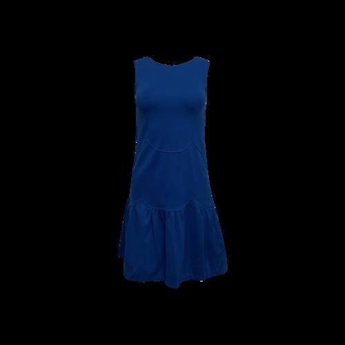 Valentino Blue Scallop-Pattern Scoop Back Dress