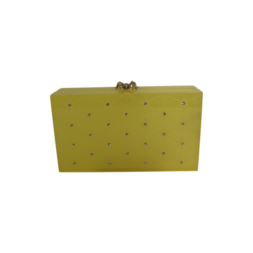 Charlotte Olympia Yellow Crystal-Embellished Pandra Box Clutch