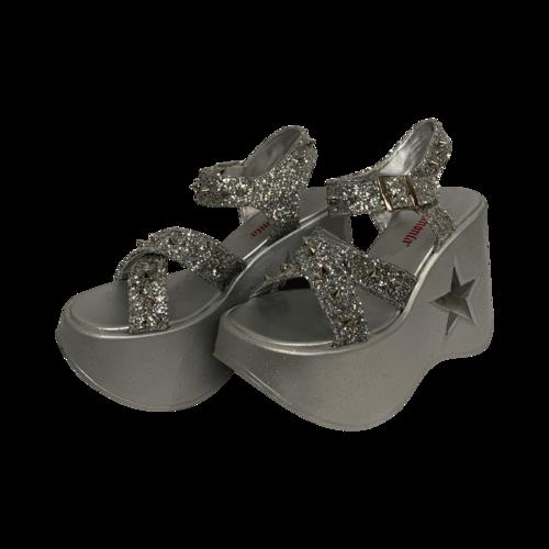 """Demonia Silver Glitter """"Dynamite"""" Platform Sandals"""