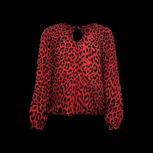 Parker Red Leopard Print Silk Blouse