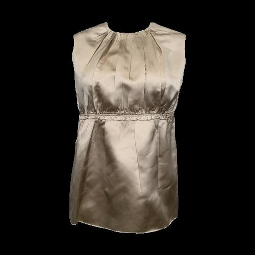 Prada Gold Silk Pleated Top