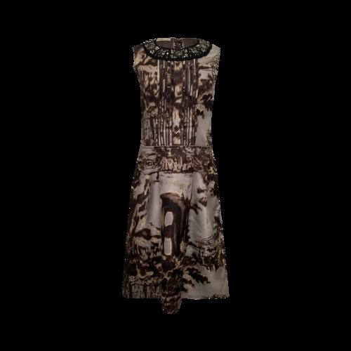 Prada Archival Print Dress w/ Embellished Collar