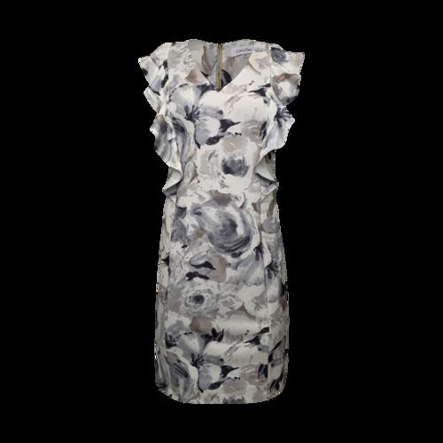 Calvin Klein Grey Floral Print Ruffle Dress