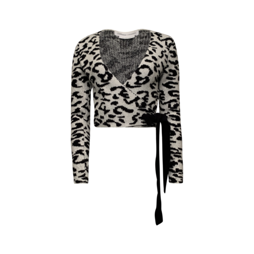 Lovers and Friends Leopard Print Wrap Sweater