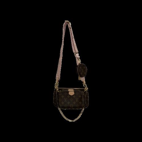 Louis Vuitton Multi Pochette Accessoires Bag w/ Light Pink Strap
