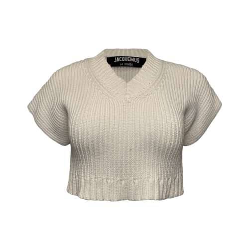 Cream Cropped Sweater Top